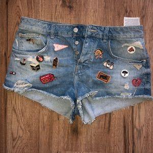 Zara Ripped Shorts with Appliqués